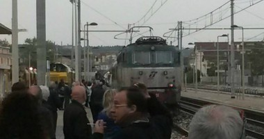 Il treno dei pellegrini giunto in stazione, 5 ottobre (foto di Enrico Tassotti)