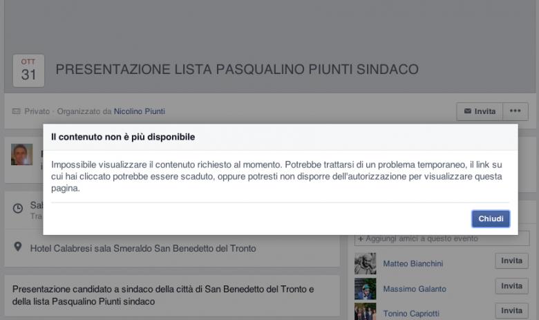 """""""Presentazione della candidatura a sindaco"""". L'evento (cancellato) di Piunti"""