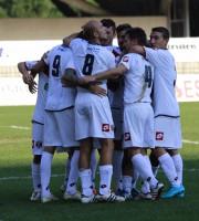 Samb-Giulianova, la festa dopo il gol