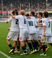 Samb-Folgore, festa dopo il gol (foto Bianchini)