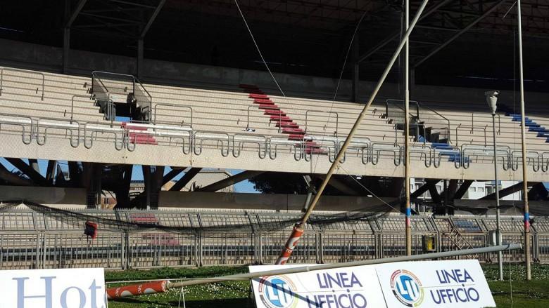 Danni allo stadio (foto Sambenedettese Calcio Fb)