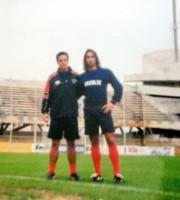 Ferretti e Temporini (il ragazzo con i capelli lunghi) allo stadio Riviera delle Palme (foto tratta dal Twitter di Ferretti)