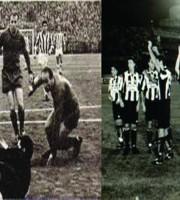 A sinistra Sivori al Ballarin per un quarto di Coppa Italia. A destrsa la Juventus al Riviera