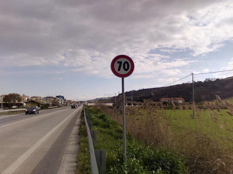 limite dei 70 sul tratto martinsicurese della statale adriatica