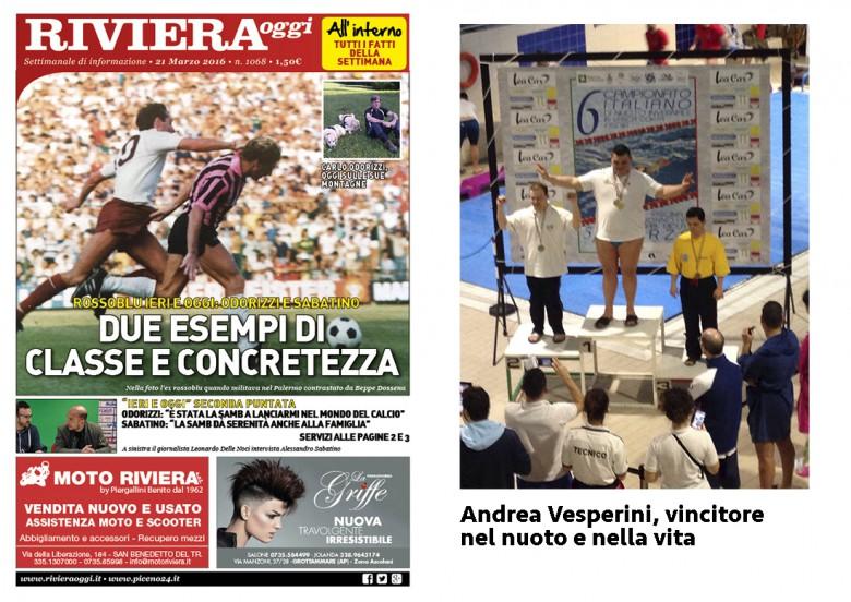 La copertina del giornale e la medaglia d'oro di Andrea Vesperini