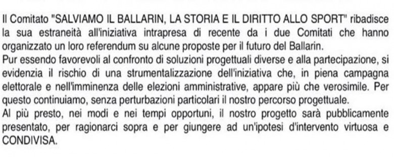 Il Comitasto Salviamo il Ballarin critica la scelta del referendum