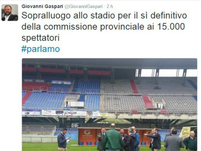 Commissione provinciale allo stadio (foto tratta dalla pagina Twitter Giovanni Gaspari)