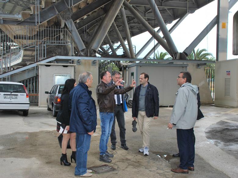 Sopralluogo allo stadio (foto Comune di San Benedetto)