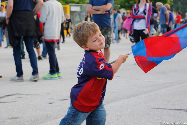 Festa promozione Samb, il piccolo Nicolò Ascolani