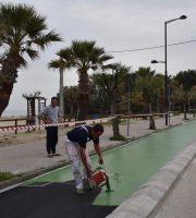 i lvoari di verniciatura della pista ciclabile a Martinsicuro