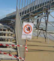 Mareggiata, la situazione del Beach Arena, ingresso vietato