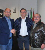 Pasqualino Piunti, al centro, con il collega sindaco di Ascoli Guido Castelli e con Aleandro Petrucci sindaco di Arquata del Tronto