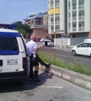 Polizia Municipale sul posto, uno dei veicoli rimasti coinvolti sullo sfondo, 8 luglio