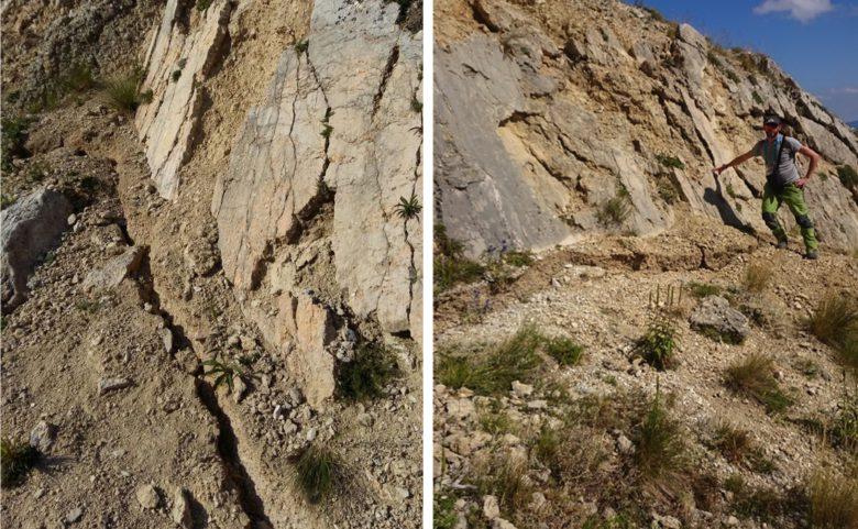 Frattura cosismica alla base del piano di faglia sul Monte Vettoretto  (Fonte INGV)