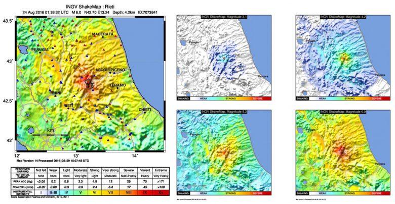 """A SINISTRA: ShakeMap (mappa di scuotimento) espressa in intensità strumentale (scala di intensità Mercalli-Cancani-Sieberg, MCS) dell'evento principale M6.0 delle ore 3.36 italiane del 24 agosto 2016, determinata utilizzando i dati della Rete Sismica Nazionale dell'INGV (triangoli rossi), della Rete Accelerometrica Nazionale (RAN, triangoli blu) e la faglia estesa ricavata da dati sismologici (rettangolo grigio). La stella rappresenta l'epicentro.  A DESTRA: Confronto tra le mappe di scuotimento semplificate di 4 diversi terremoti della sequenza sismica in corso nell'Italia centrale. Le mappe evidenziano il livello di scuotimento utilizzando colori più caldi (dall'azzurro al rosso intenso) man mano che esso aumenta. La dicitura """"WEAK-STRONG-SEVERE"""" (debole-forte-severo) definisce il livello discuotimento (shaking) e consente una rapida valutazione del potenziale impatto dell'evento. Le 4 mappe sono state elaborate per: il terremoto di magnitudo M3.1 avvenuto il 1 settembre alle ore 01.55 UTC in provincia di Macerata; quello di magnitudo M4.2 avvenuto il 28 Agosto alle ore 15.55 UTC in provincia di Ascoli Piceno; il terremoto di magnitudo M5.3 avvenuto il 24 Agosto alle ore 02.33 UTC in provincia di Perugia; e infine per l'evento principale della sequenza, di magnitudo M6.0 avvenuto il 24 Agosto alle ore 01.36 UTC in provincia di Rieti. (Fonte INGV)"""