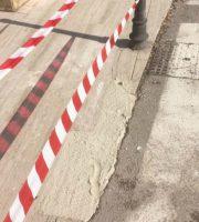 Malta provvisoria in attesa del travertino (foto Stefano Muzi tratta da Facebook)