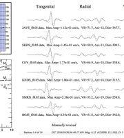 A sinistra: diagrammi di Magnitudo Lineare (sopra) e Magnitudo Momento (sotto). A destra: alcune delle stazioni sismiche utilizzate per il calcolo del momento sismico e della relativa magnitudo, per il terremoto del 30 ottobre alle 7.40. (Fonte INGV)