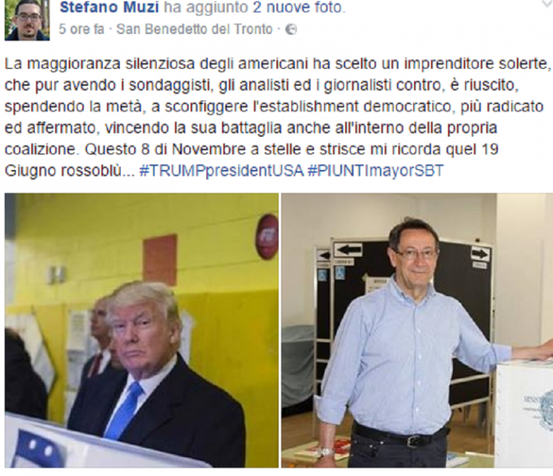 Il consigliere Muzi sul suo profilo facebook