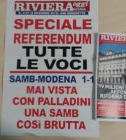 la prima pagina e la locandina di Riviera Oggi n° 1101