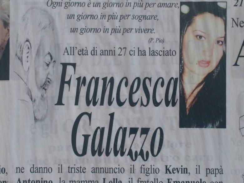 Si terranno venerdì 21 luglio i funerali di Francesca Galazzo