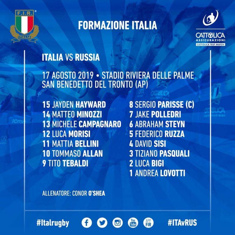 Italrugby, domani Cattolica Test Match contro la Russia a San Benedetto