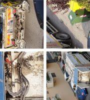 Alcuni particolari di un camion per la raccolta dei rifiuti di PicenAmbiente