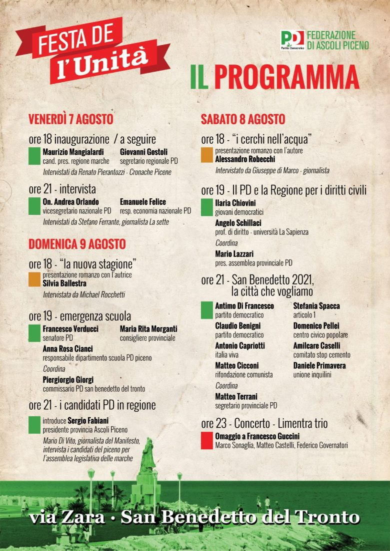 Festa dell'Unità a San Benedetto dal 7 al 9 agosto. Il programma