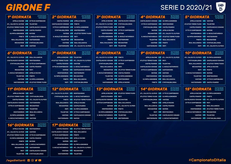 Calendario Eccellenza Lazio Girone B 2021-2022 Calendario Serie D, Girone F: alla prima derby Pineto San Nicolò
