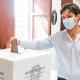 Francesco Acquaroli al voto, foto Facebook