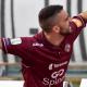Nicolò Fazzi con la maglia del Livorno dopo un gol