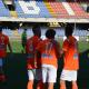 L'esultanza del Porto d'Ascoli Calcio dopo un goal al Riviera delle Palme