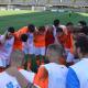 L'esultanza dei giocatori del Porto d'Ascoli insieme allo staff tecnico al Riviera delle Palme
